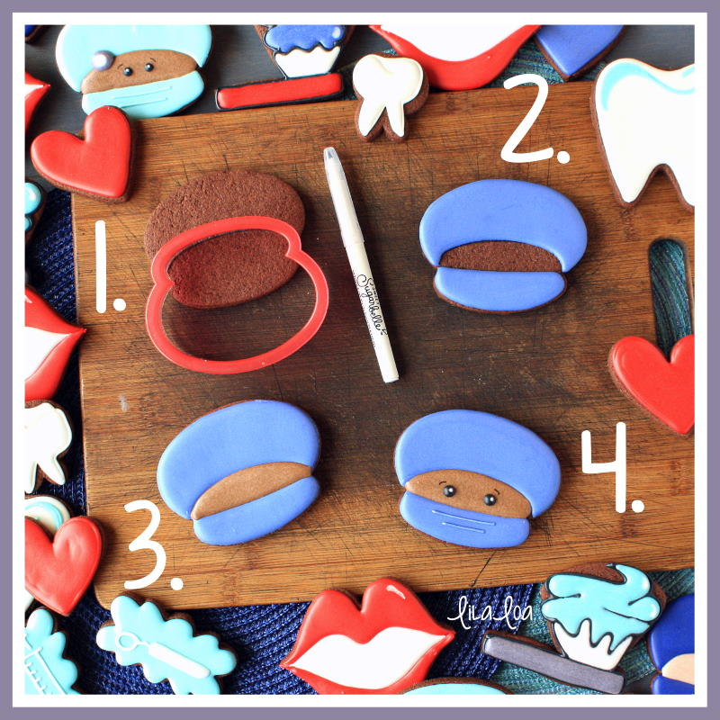 step by step cookie decorating tutorial for a surgeon or dentist cookie