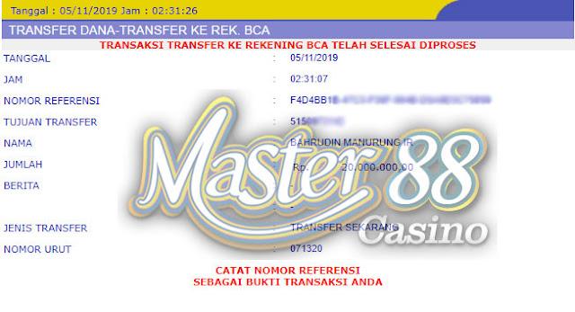 Bukti Transfer MasterCasino88 Rp 20.000.000