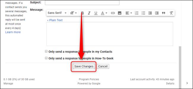 إعدادات Gmail حفظ التغييرات