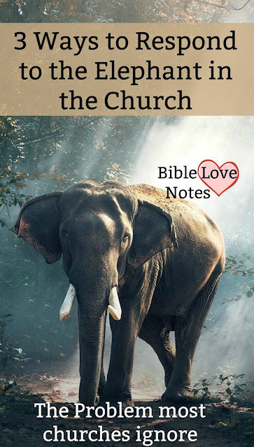 "And ""elephant in a room"":an obvious problem we ignore. There's one in the church we need to quit ignoring. This 1-minute devotion explains. #BibleLoveNotes #Bible #Devotions"