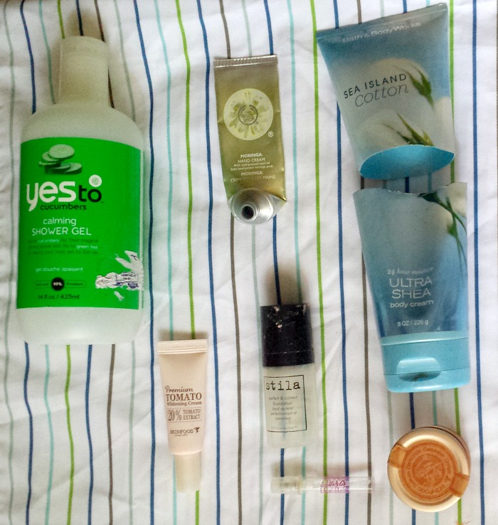 august 2016 monthly empties, makeup, skincare, body care