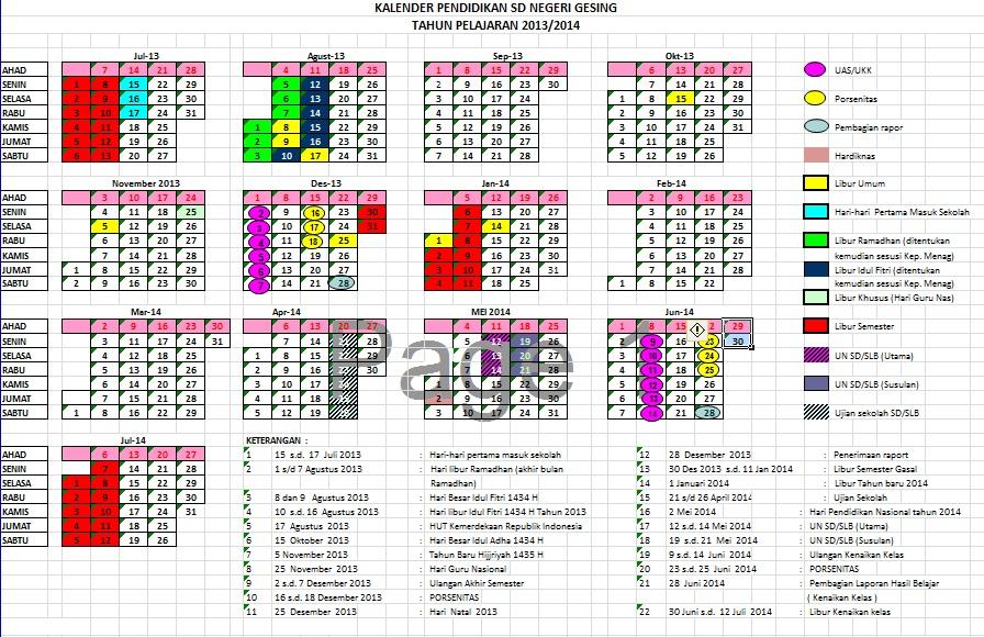 Contoh Kalender Pendidikan Aneka Template Desain Grafis Terlengkap Dan Terbaik Karya Kalender Pendidikan 20132014