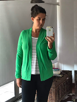 Kelly Green bamboo/lycra cardigan made from the D-cup version of the Blackwood Cardigan sewing pattern.