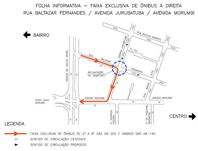 Faixa exclusiva para ônibus na Rua Baltazar Fernandes e Avenidas, Jurubatuba e Morumbi