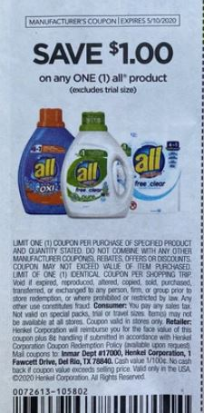 "$1.00/1 All Coupon from ""RetailMeNot"" insert week of 4/19/20"