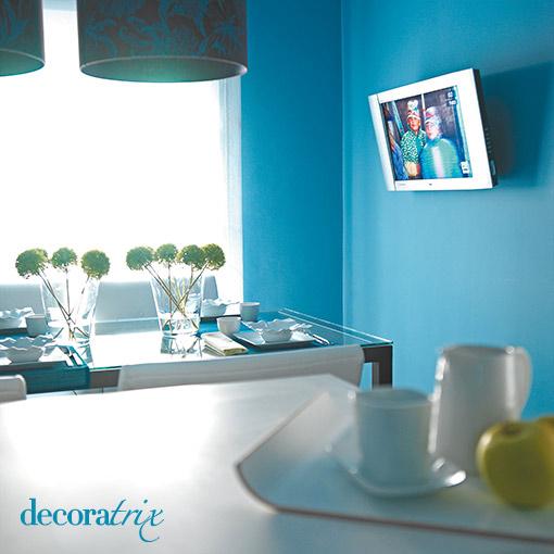 Decoracion actual de moda paredes color turquesa - Decoracion paredes pintadas ...
