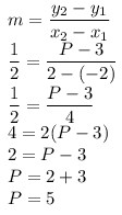 5). Garis yang melalui titik A(-2,3) dan B(2,p) memiliki kemiringan 1/2. Tentukan nilai p!