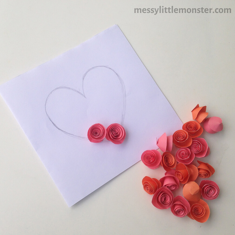 add roses to heart card