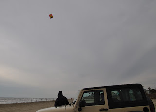 Man flying Kite next to a Jeep on the beach