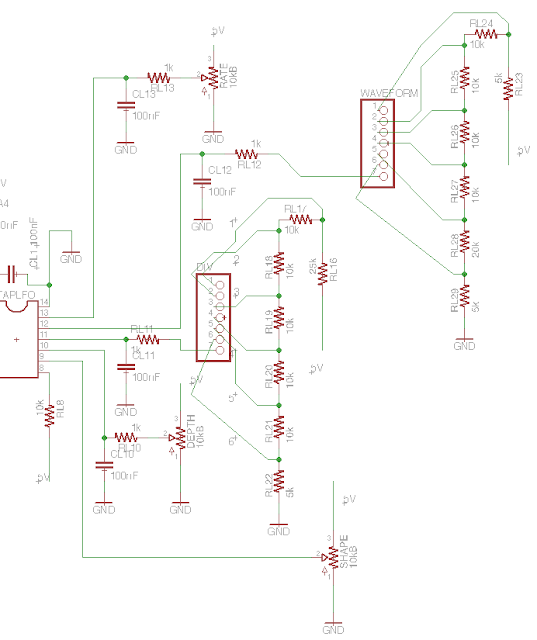 DIY tremolo with tap tempo schematic controls