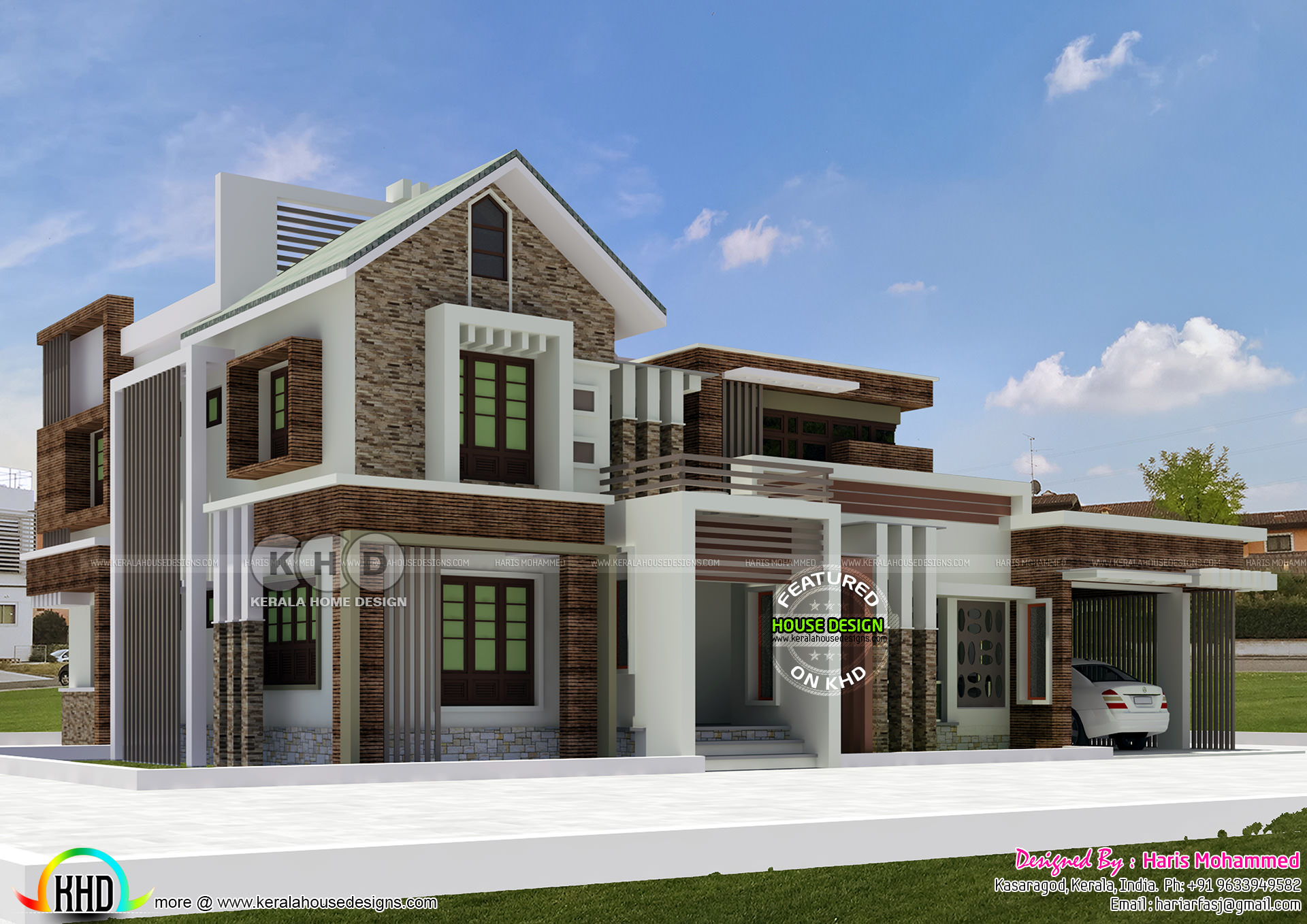 2552 square feet 4 bedroom modern mix roof house plan ...