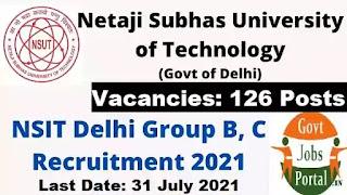 NSUT Delhi Govt Jobs