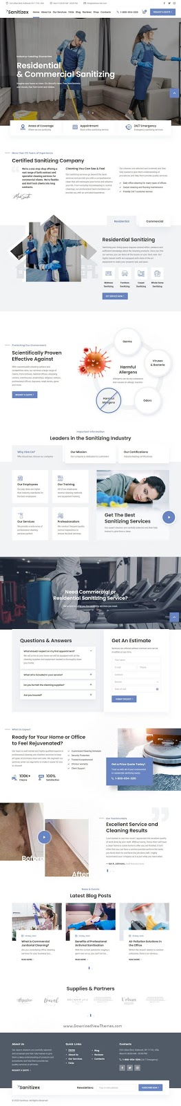 Sanitizing Services Website Template