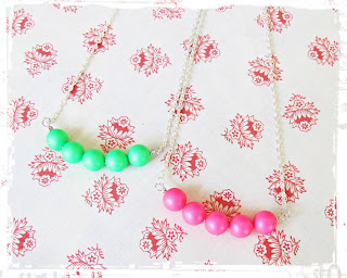 image diy funky neon necklace tutorial bar swarovski crystal pearl green pink