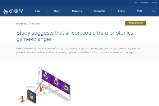 University of Surrey: silicon could be a photonics game-changer