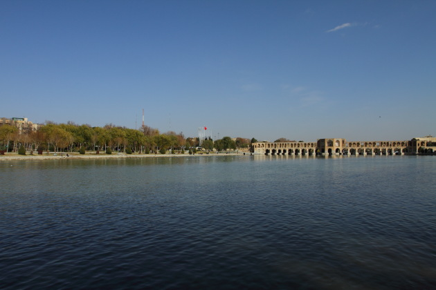 The famous Khaju bridge of Isfahan, Iran