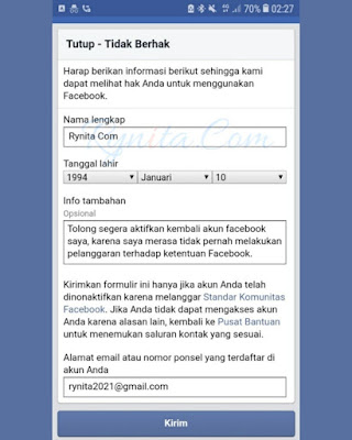Cara Mengaktifkan Akun FB Yang Dinonktifkan Tanpa KTP