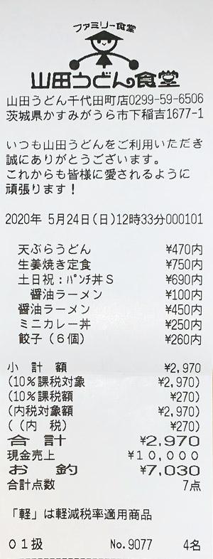 山田うどん食堂 千代田町店 2020/5/24 飲食のレシート