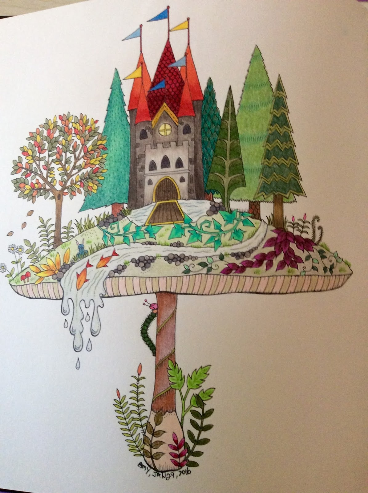 I Cant Say Enjoyed Doing Either Of These From Johanna Basfords Enchanted Garden Book There Are So Many Elements In Them And Each Is Tiny Limiting The