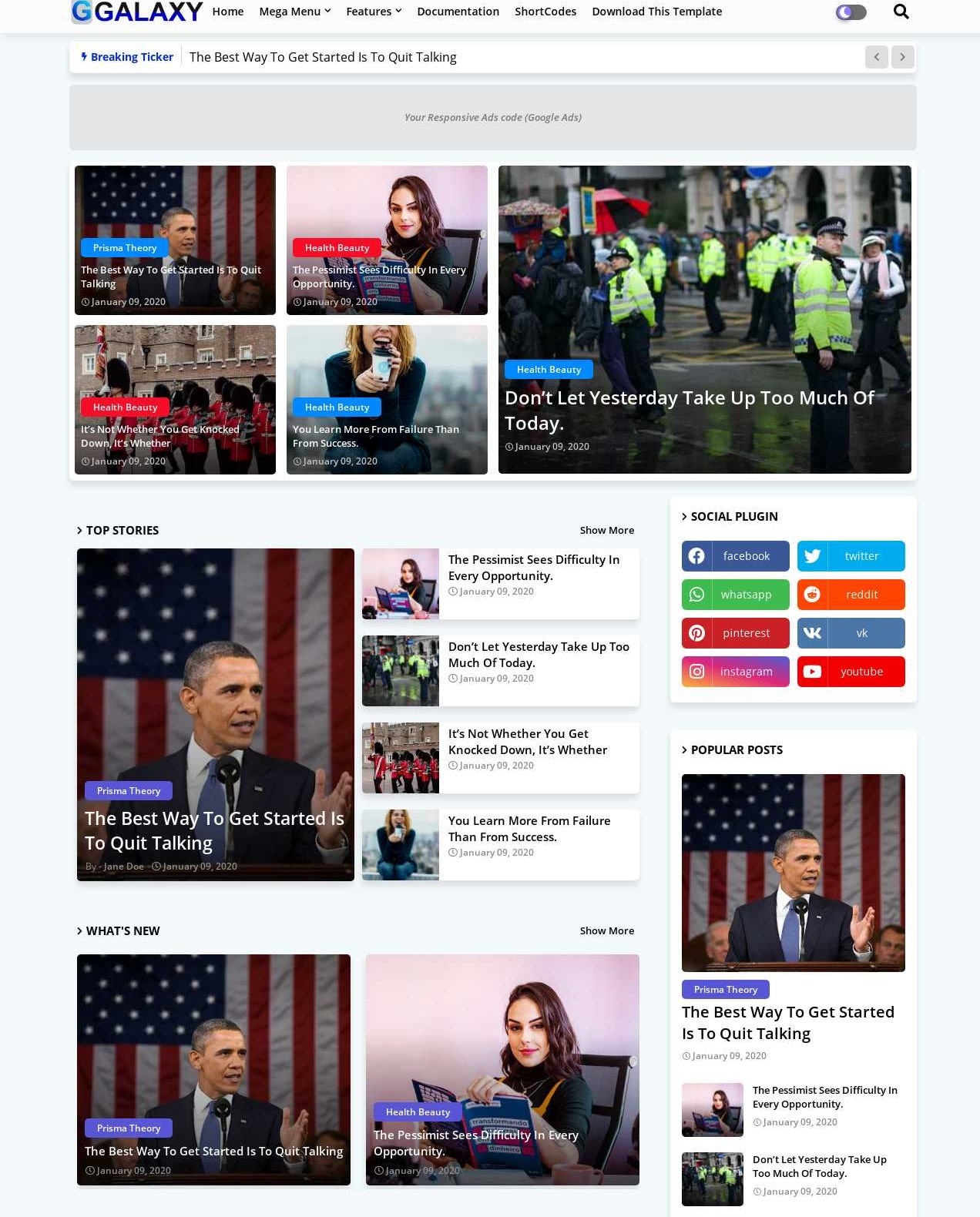 Galaxy  Magazine And Responsive Blogger Template