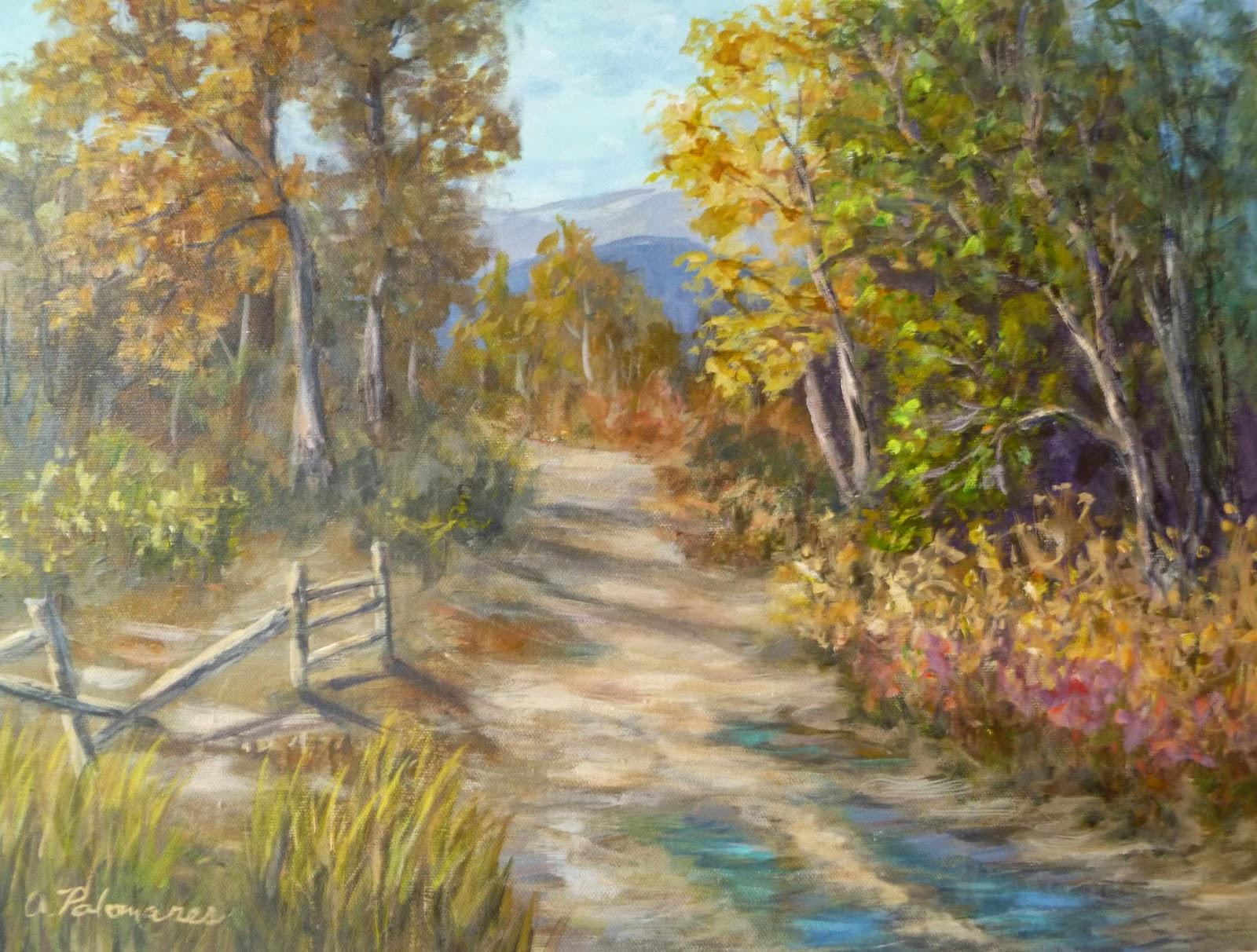 paintings landscape autumn trees painting hills amber tree palomares cottonwood nature fine