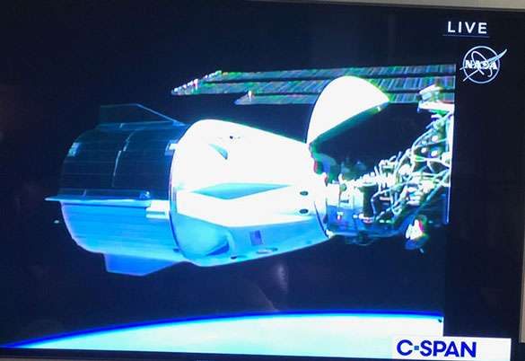 View of Dragon spacecraft Endeavor outside of ISS (Source: C-Span)