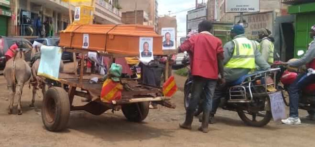 Parading coffin in Nyeri town. PHOTO | RMS
