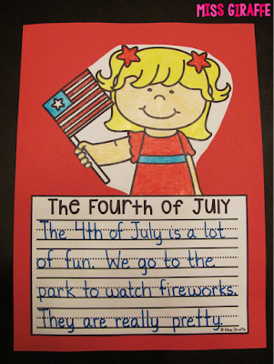 4th of July writing activity that's an easy 4th of July craft kids just write color cut and glue