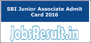 SBI Junior Associate Admit Card 2016