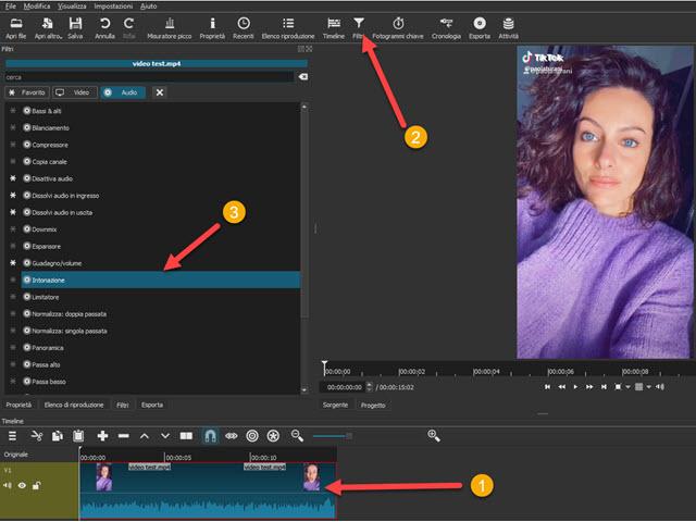 filtro audio intonazione di shotcut