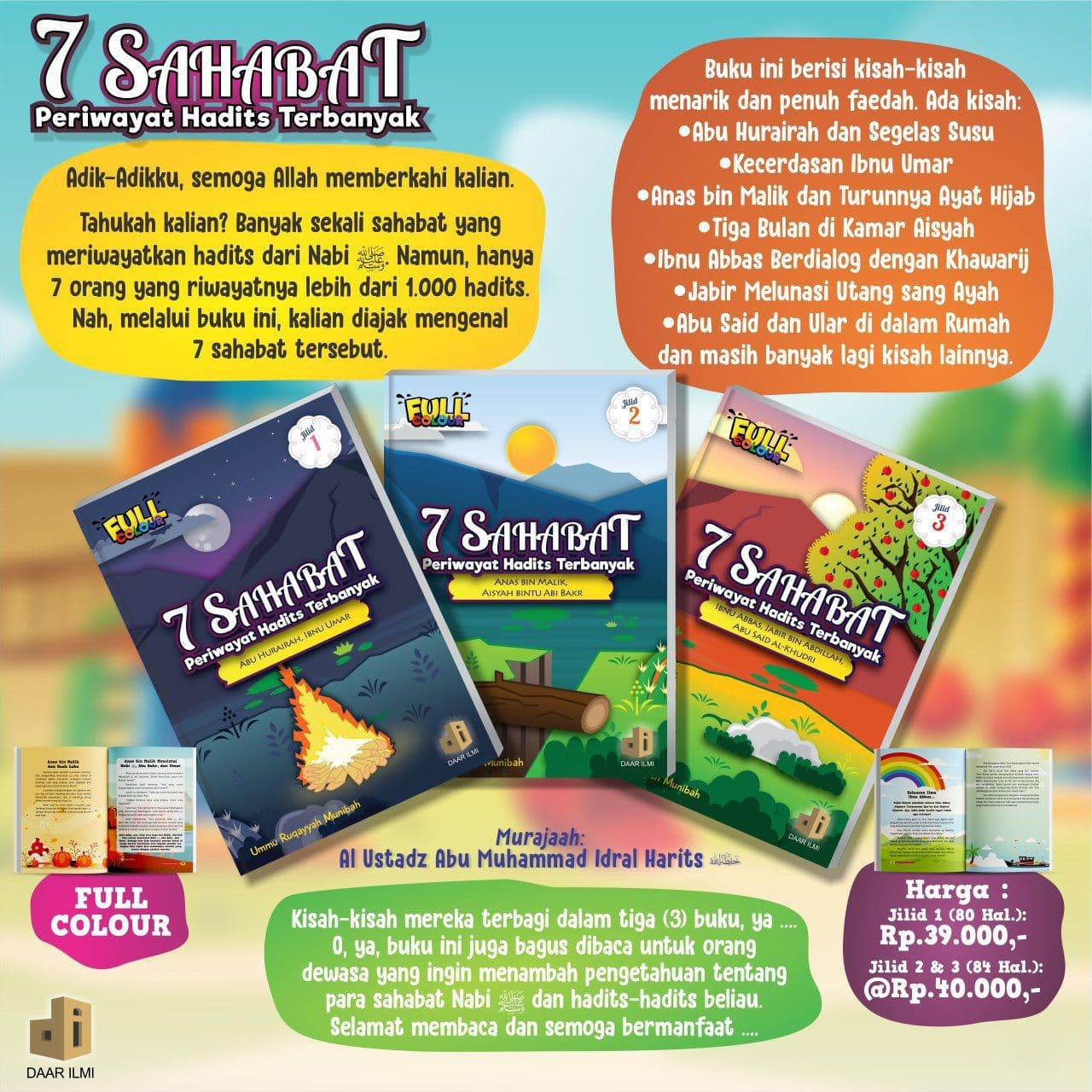Buku Anak 7 Sahabat Periwayat Hadits Terbanyak Jilid 1-2-3 Daar Ilmi