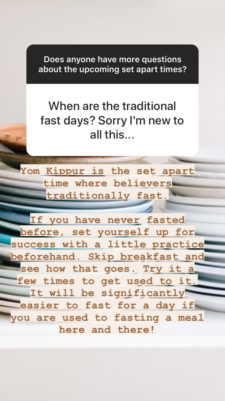 Fasting and Yom Kippur for believers in Messiah | Land of Honey