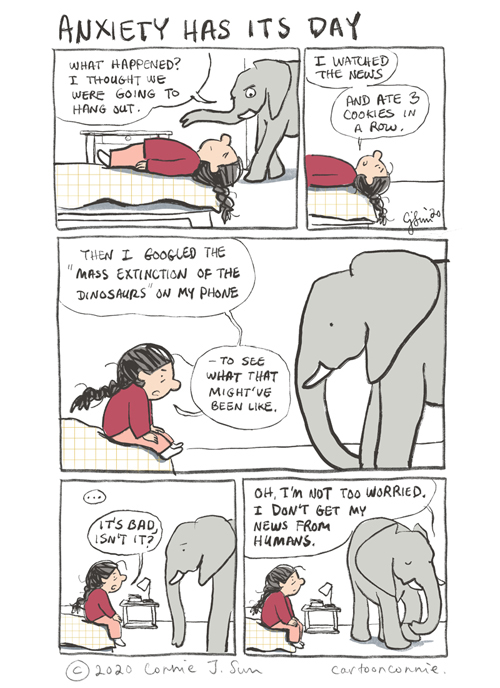 comics, comic strip, illustration, elephant, anxiety, humor, news, connie sun, cartoonconnie