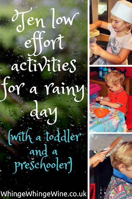 Rainy day? Here are some low-effort activities you can do at home to keep your toddler and preschooler amused and from taking chunks out of each other!