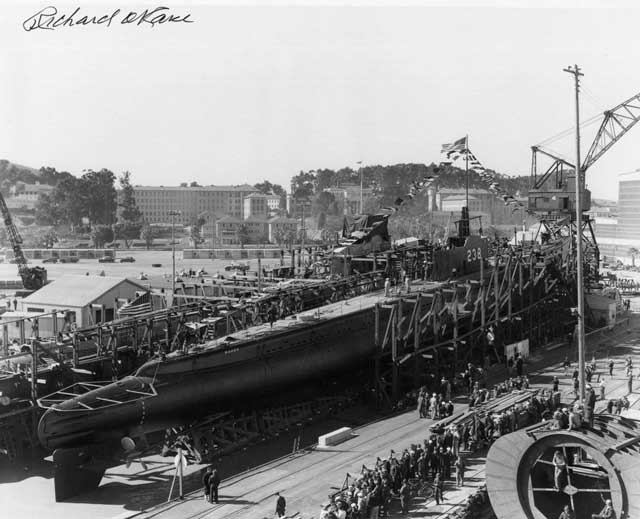 USS Wahoo launching, 14 February 1942, worldwartwo.filminspector.com
