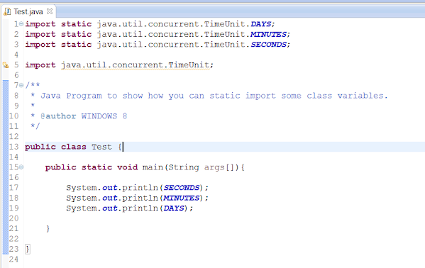 static import example in Java