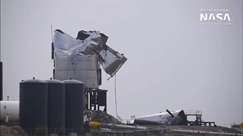 Aftermath of cryo-test failure on Starship SN#3 (Source: @BocaChicaGal)