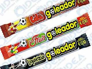 I tre gusti di Caramelle Goleador degli anni '90: cola, frutta e liquirizia