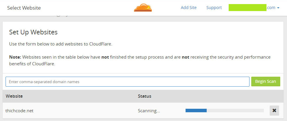 Add site cho Cloudflare