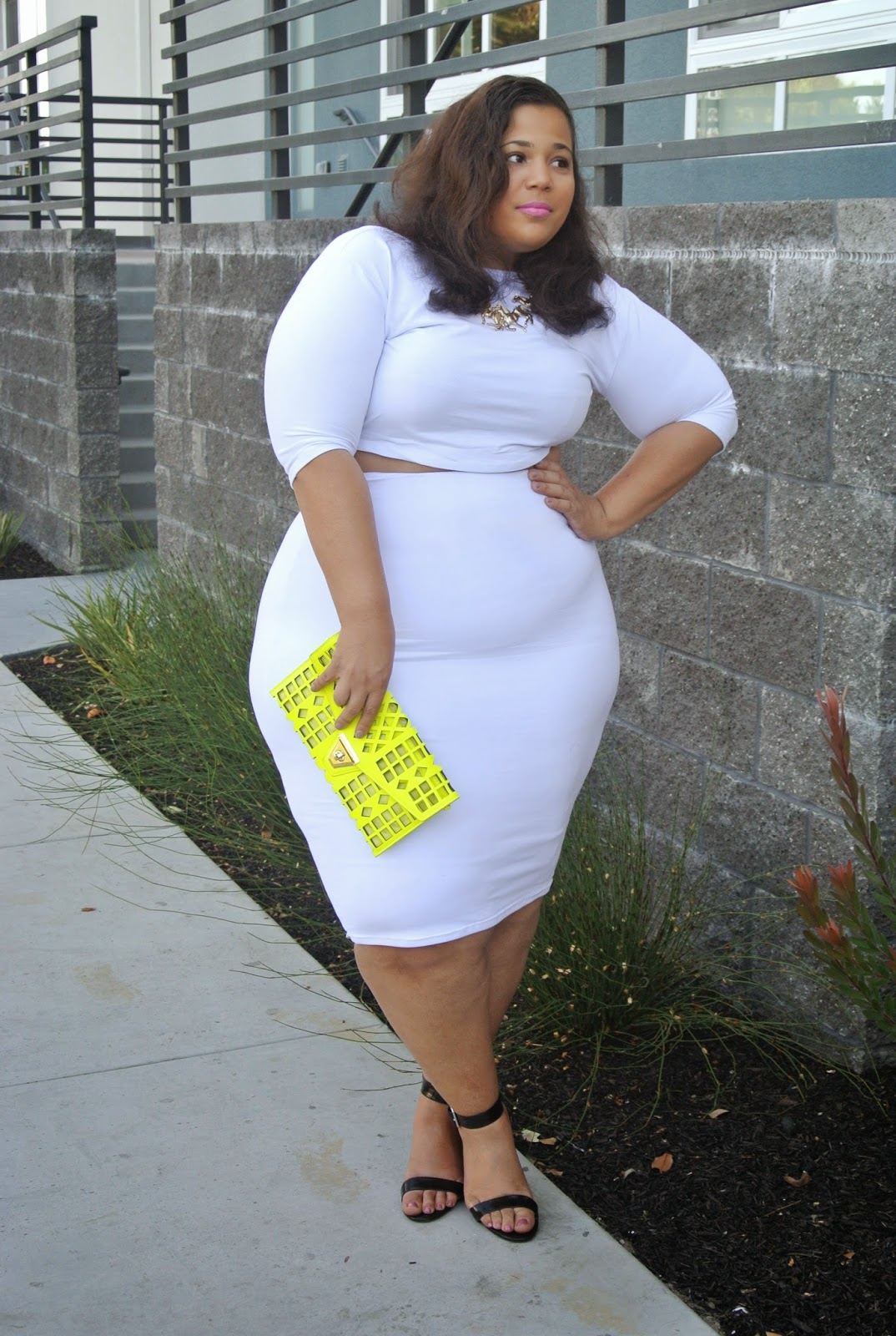 Khloe Kardashian style, plus size crop top and skirt set