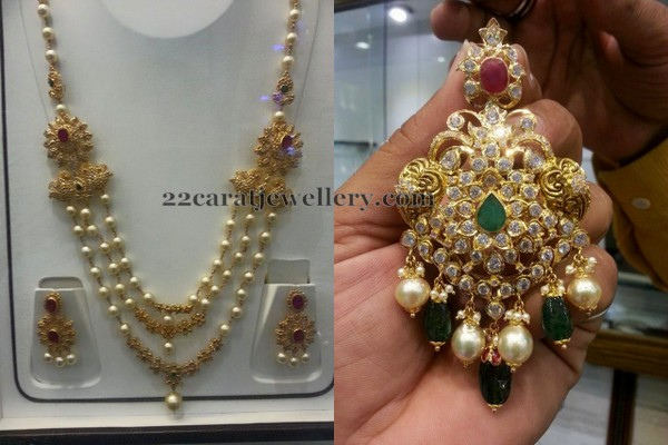3 Layer Pearl Set and Pendant Jewellery Designs