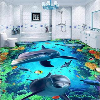 kamar mandi bagus dengan aplikasi epoxy lantai 3 dimensi