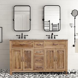natural wood bathroom cabinet