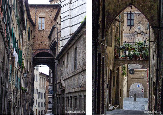 Ghetto, bairro judeu medieval, em Siena, Itália