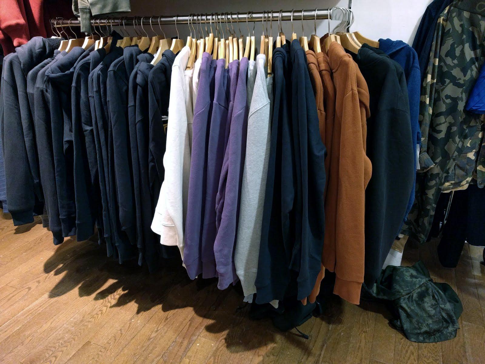 Rack full of sweatshirts and hoodies from all GQ×GAP brands. Interestingly b6c0f1c279ca