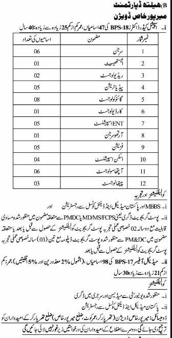 SPSC Health Department Government of Sindh Jobs Jan 2019