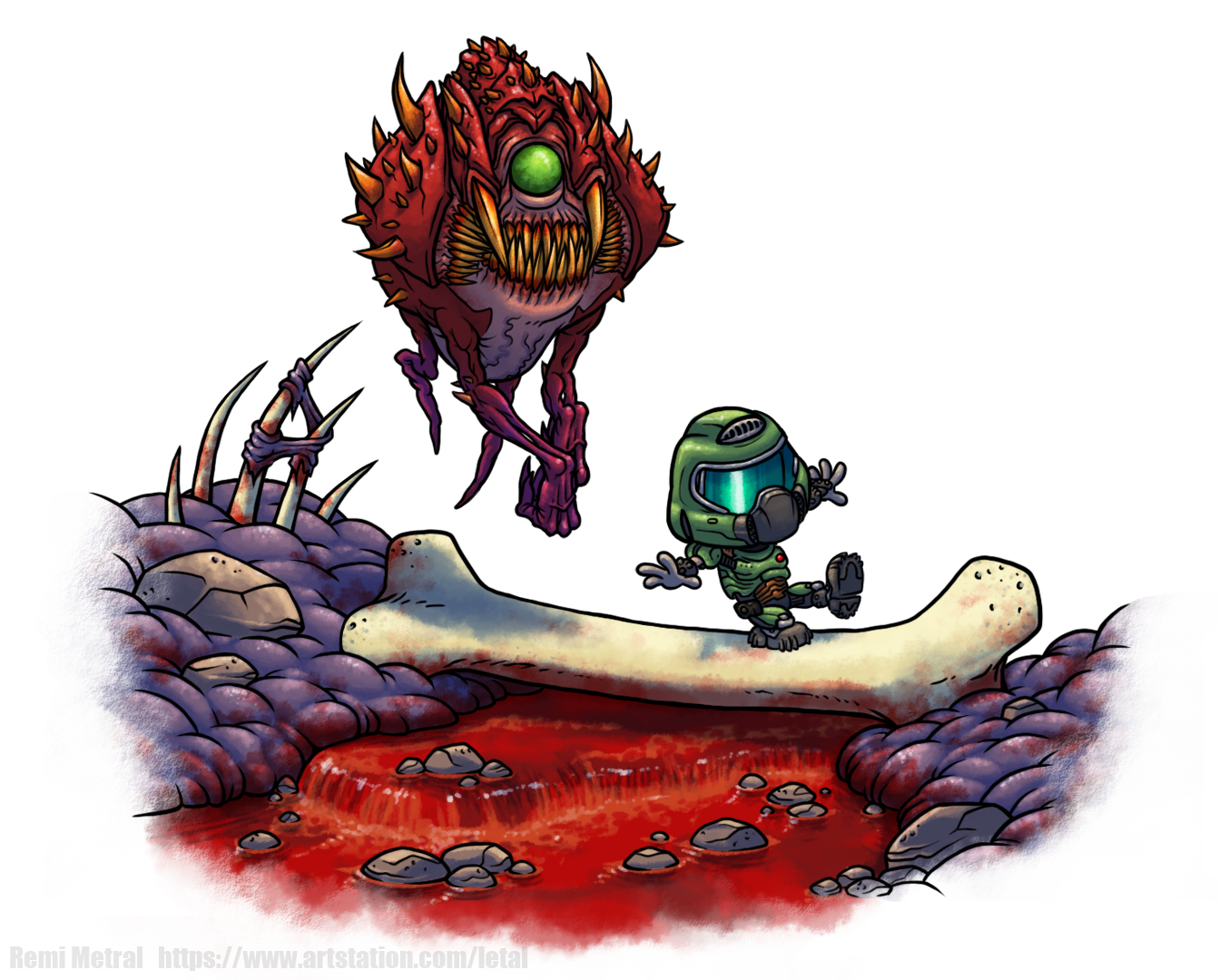 DoomSlayer and Cacodemon (Calvin and Hobbes)