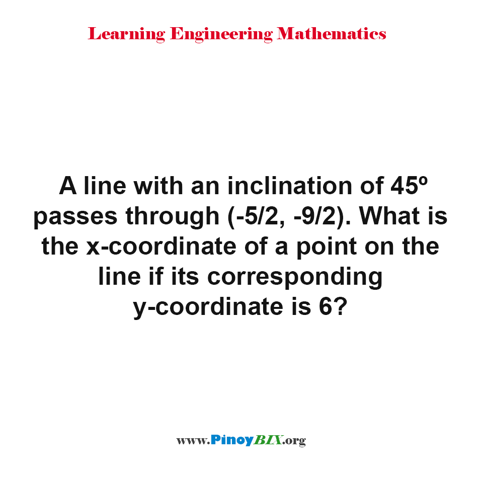 What is the x-coordinate of a point on the line if its corresponding y-coordinate is 6?