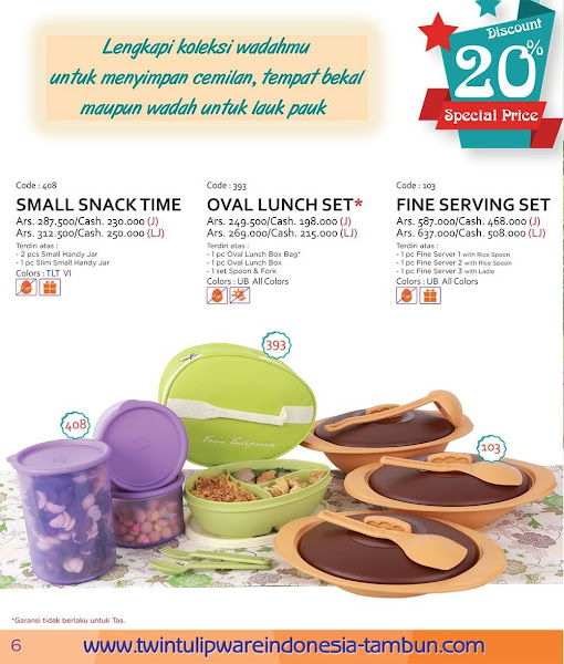 Promo Diskon Tulipware Maret 2016, Small Snack Time, Oval Lunch Set, Fine Serving Set