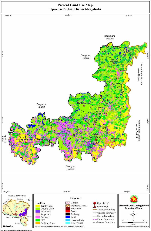 Puthia Upazila Mouza Map Rajshahi District Bangladesh